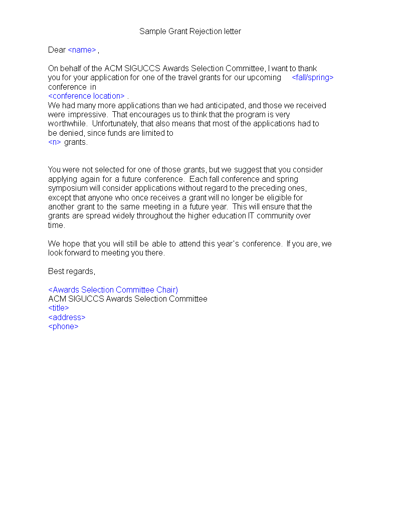 rejection letter for unsuccessful grant application main image download template