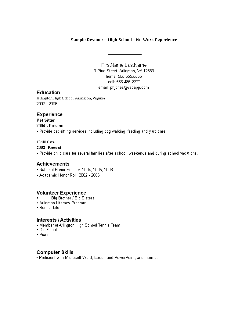 Free High School No Working Experience Resume Format