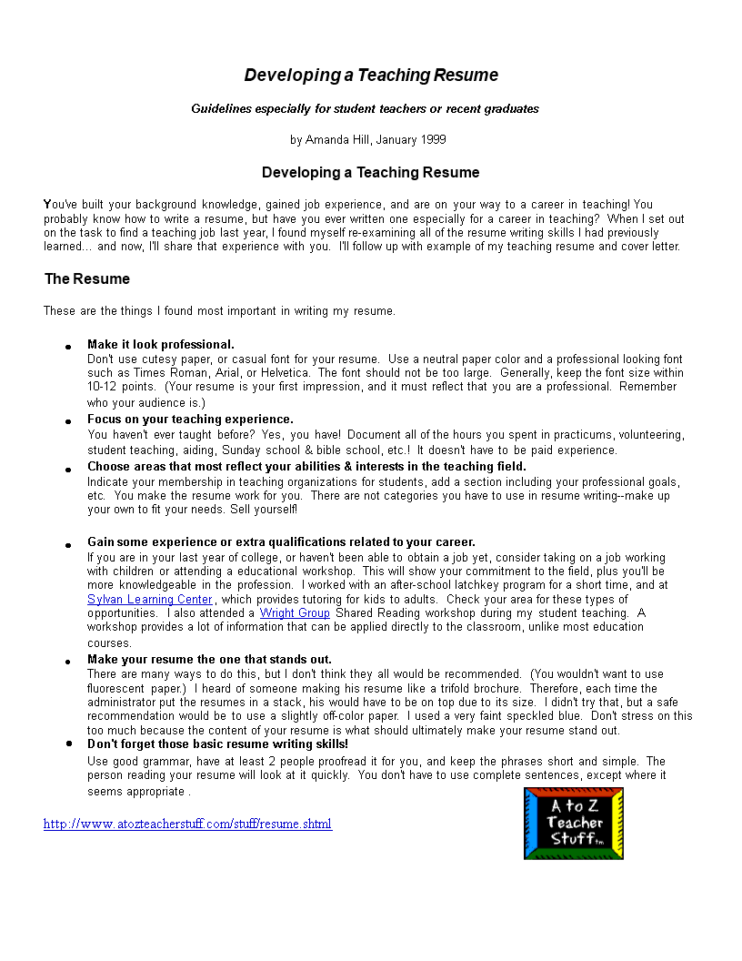 Free Objective For Nursery Teacher Resume Templates At