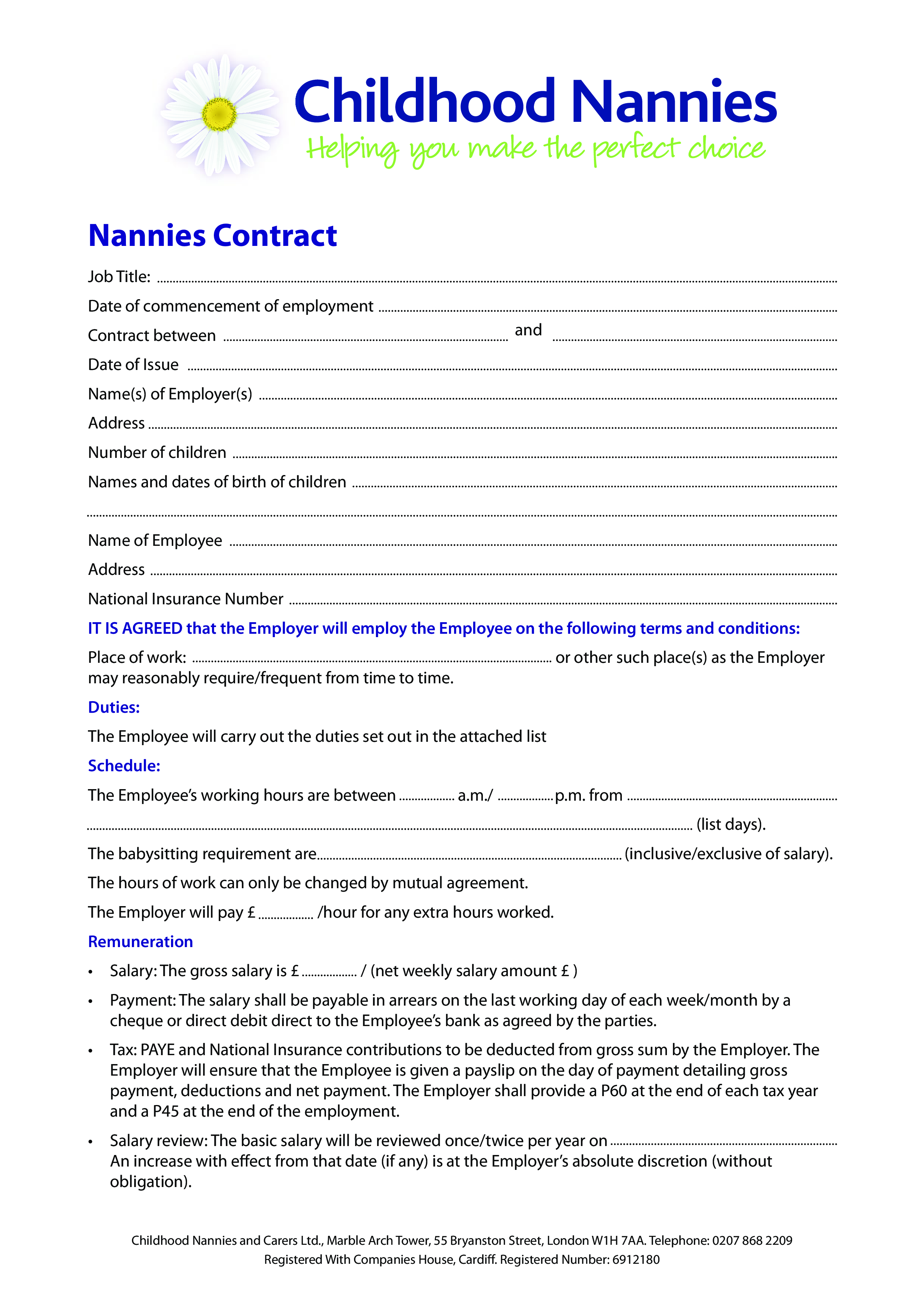 Free Childhood Nanny Contract | Templates at allbusinesstemplates.com