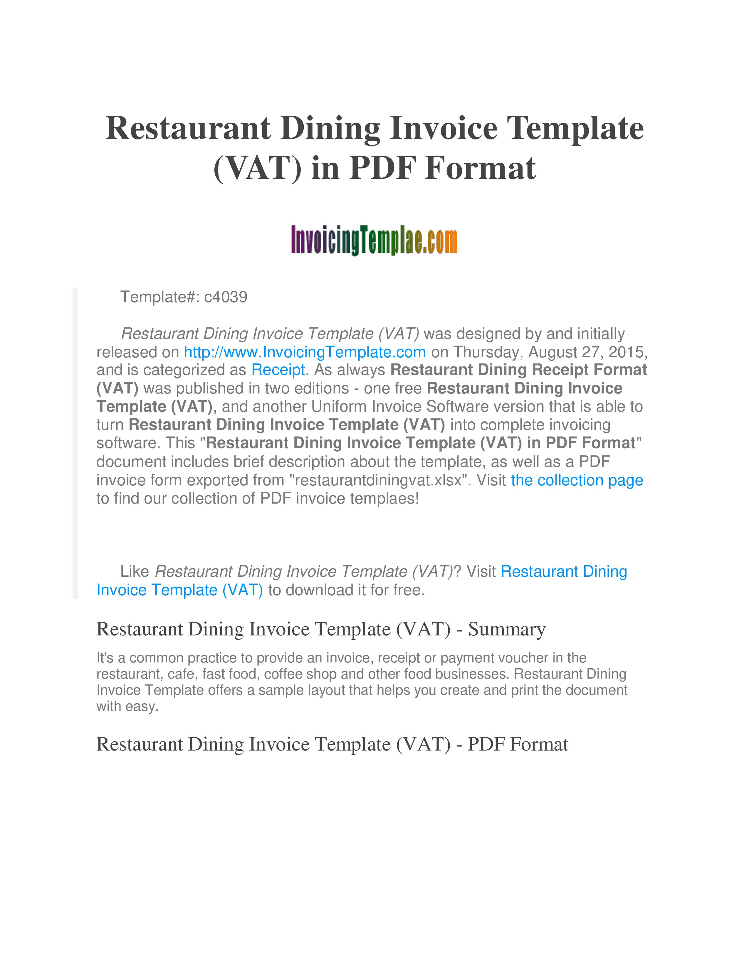 Restaurant Dining Invoice Templates At Allbusinesstemplates Com