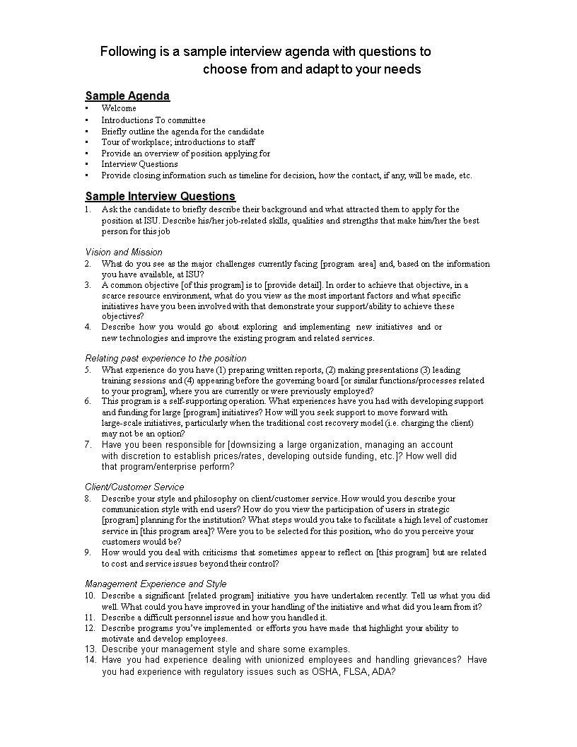 free job interview agenda templates at