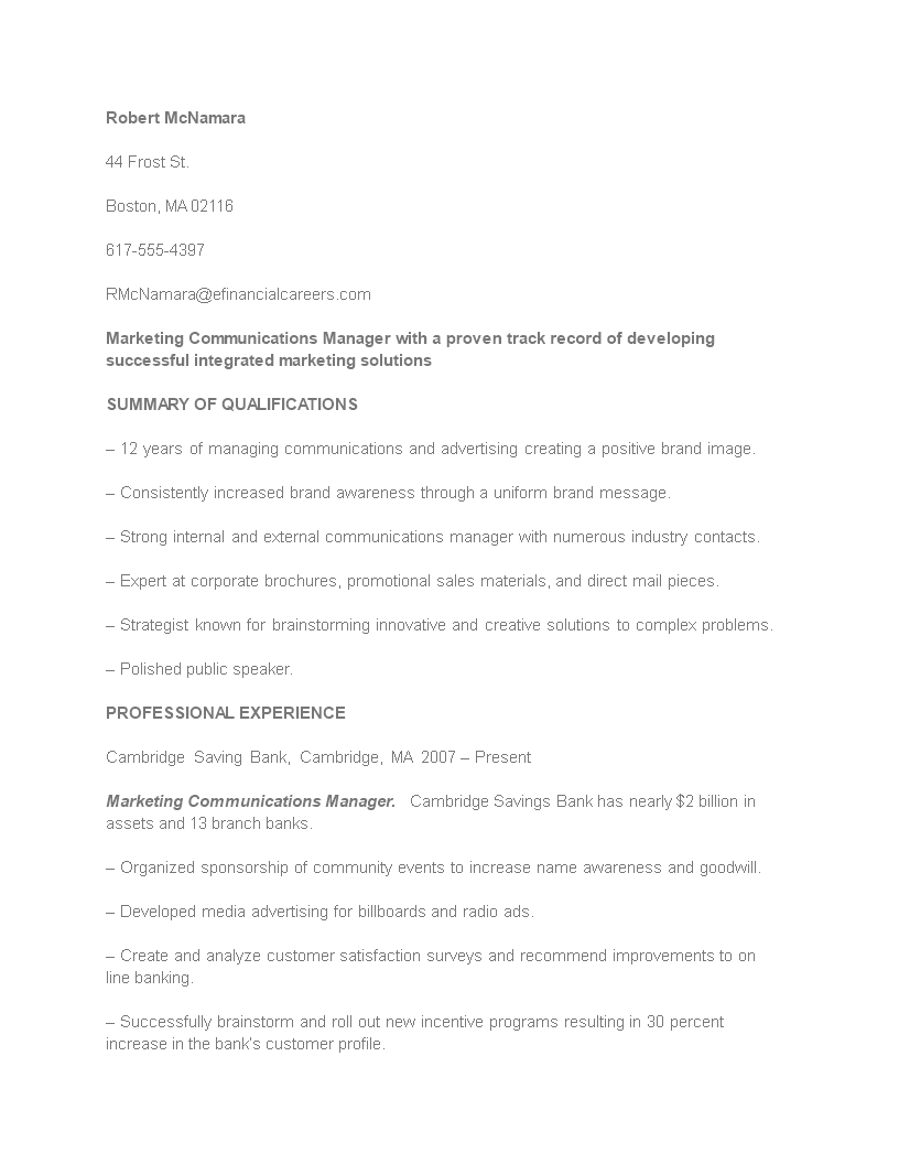 Free Marketing Communications Manager Resume | Templates at ...