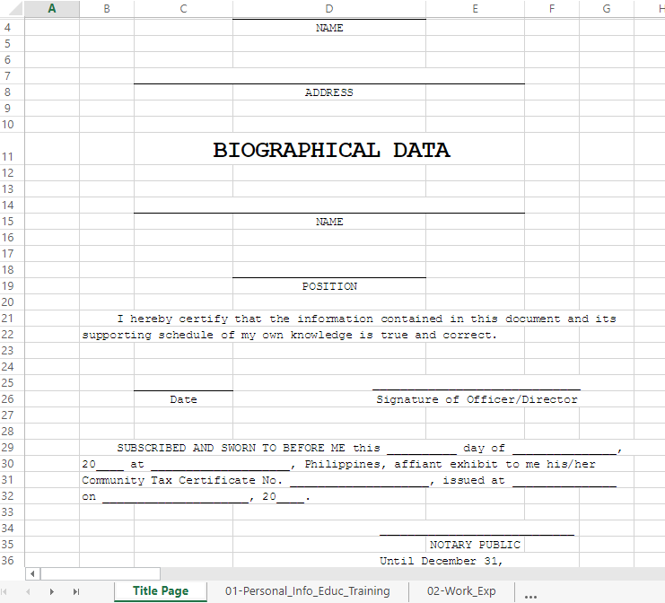 Free Biodata Extented Excel Template | Templates at ...
