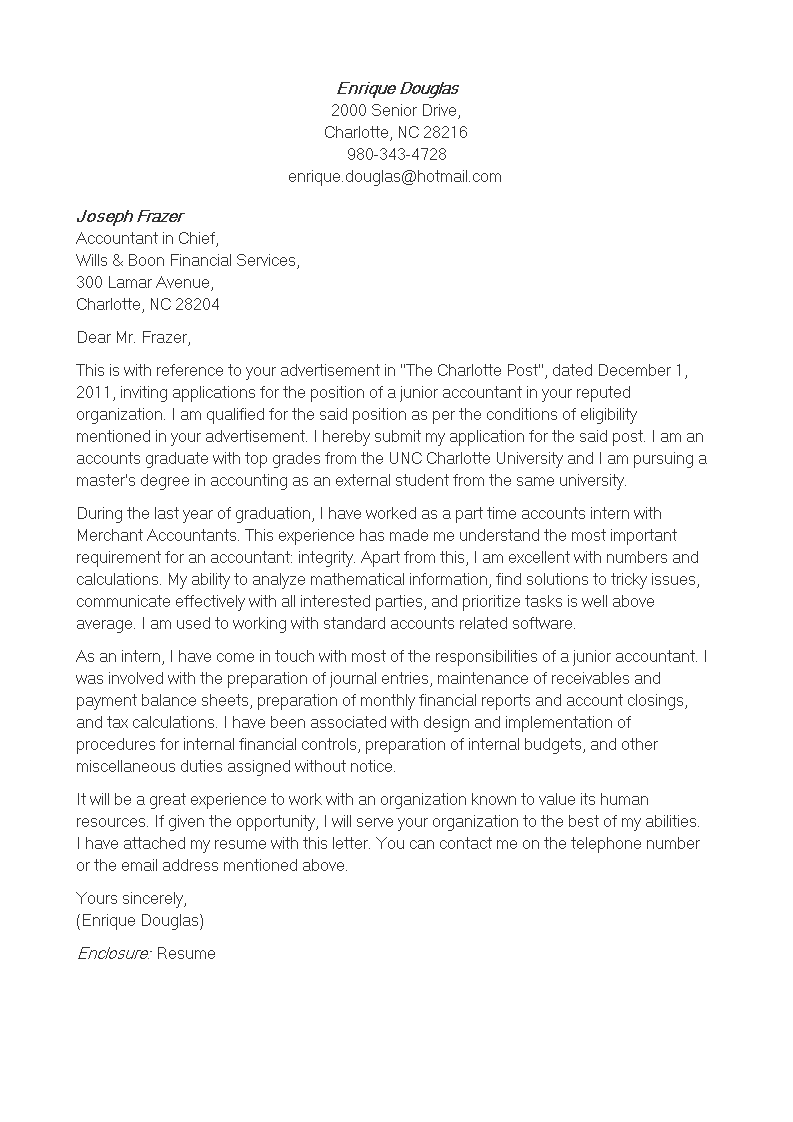 Junior Accounting Application Letter | Templates at ...