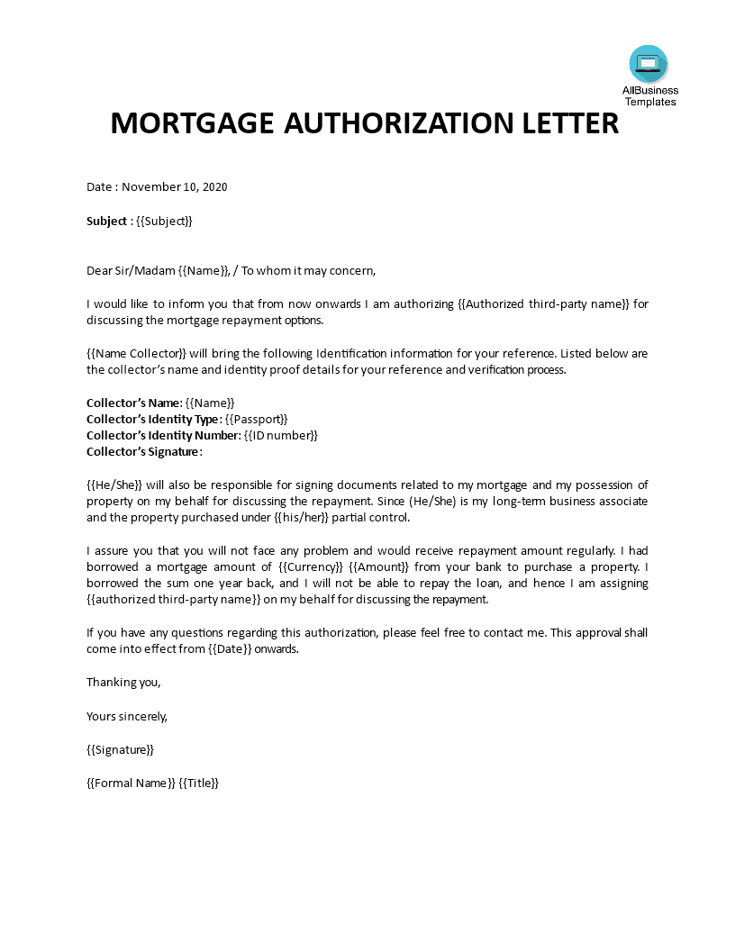 Mortgage authorization letter template main image