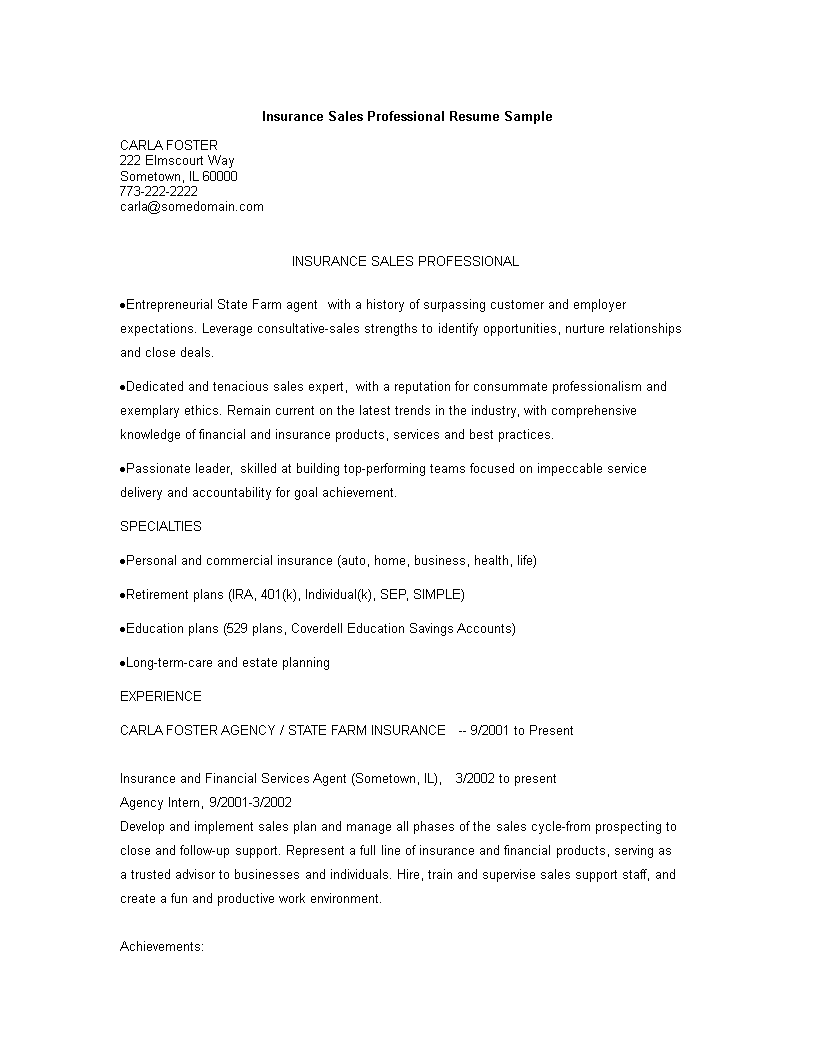 Insurance Sales Executive Resume Template