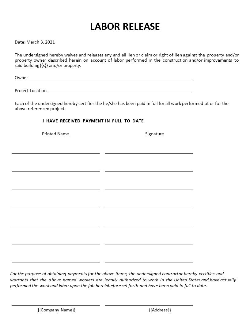Labor Lien Release Form   Premium Schablone