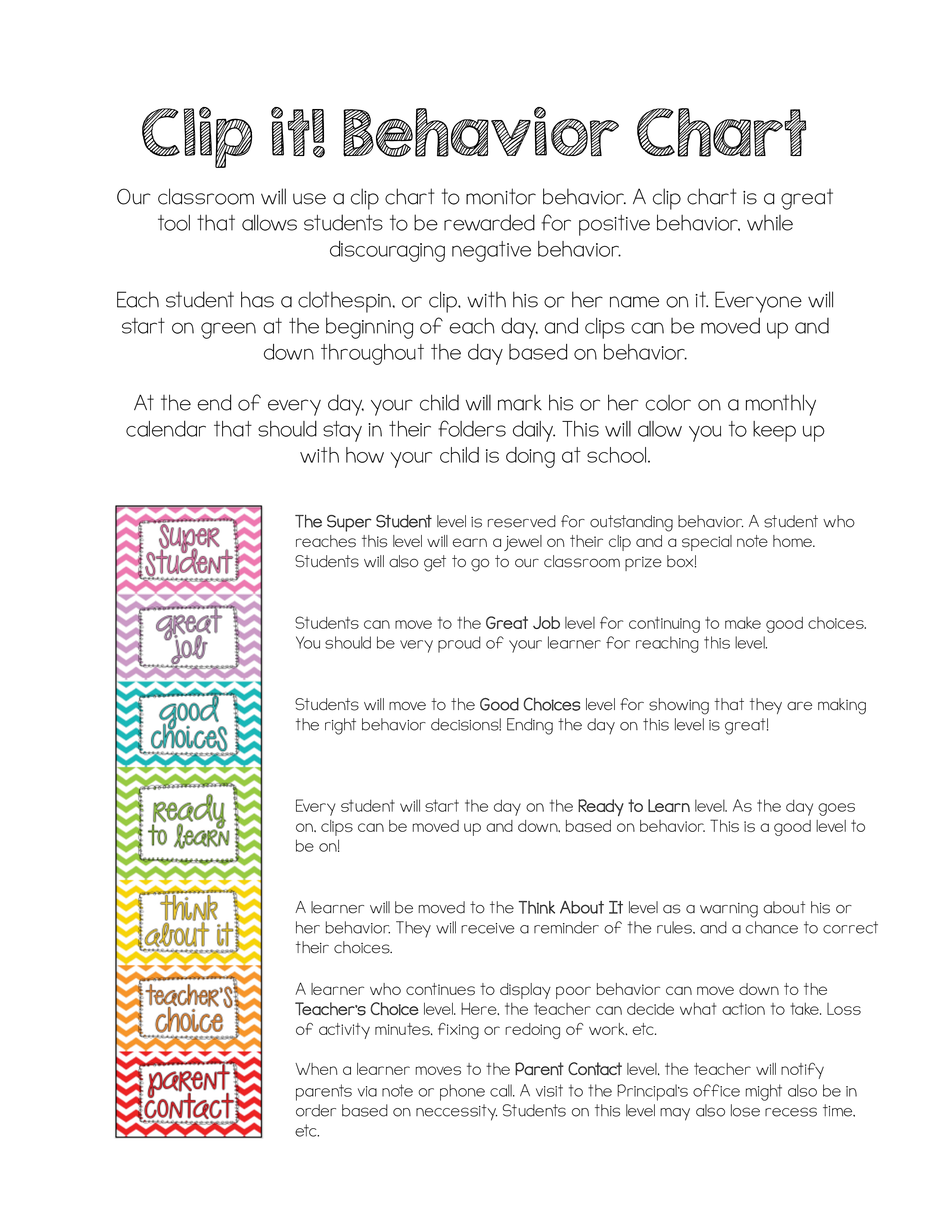 Daily Behavior Chart Main Image Template