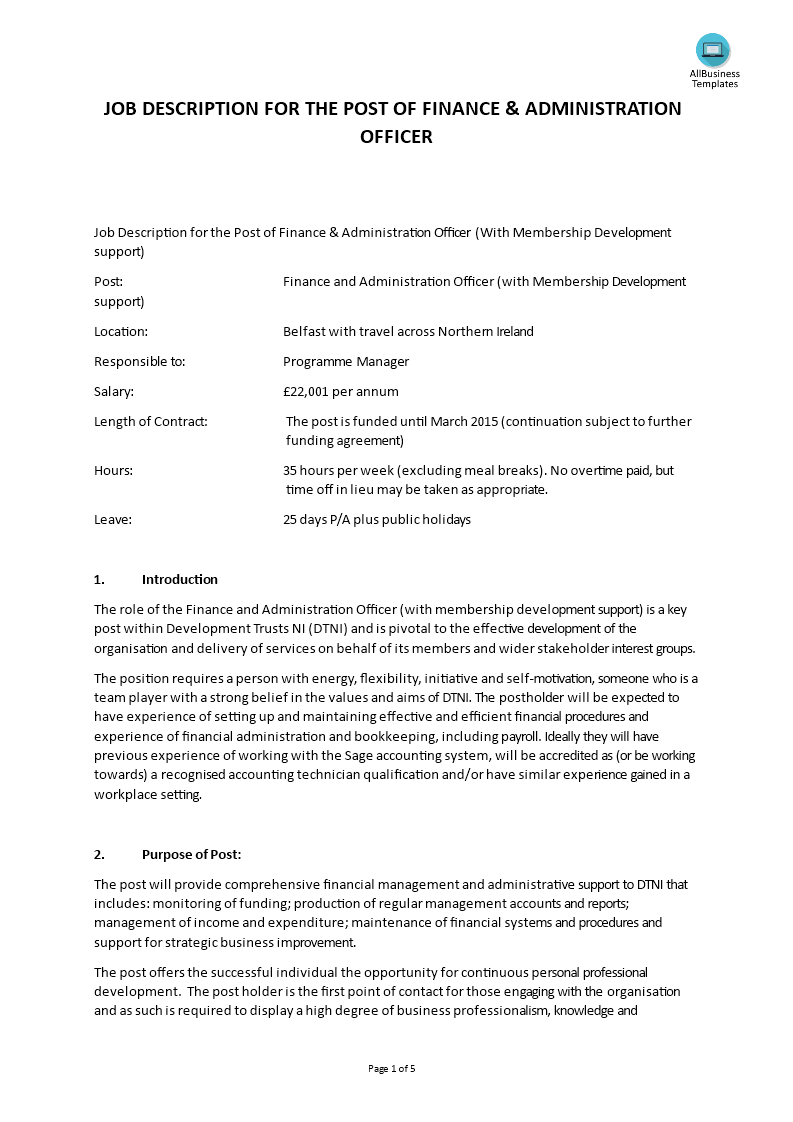 Finance Administration Officer Job Description | Templates ...
