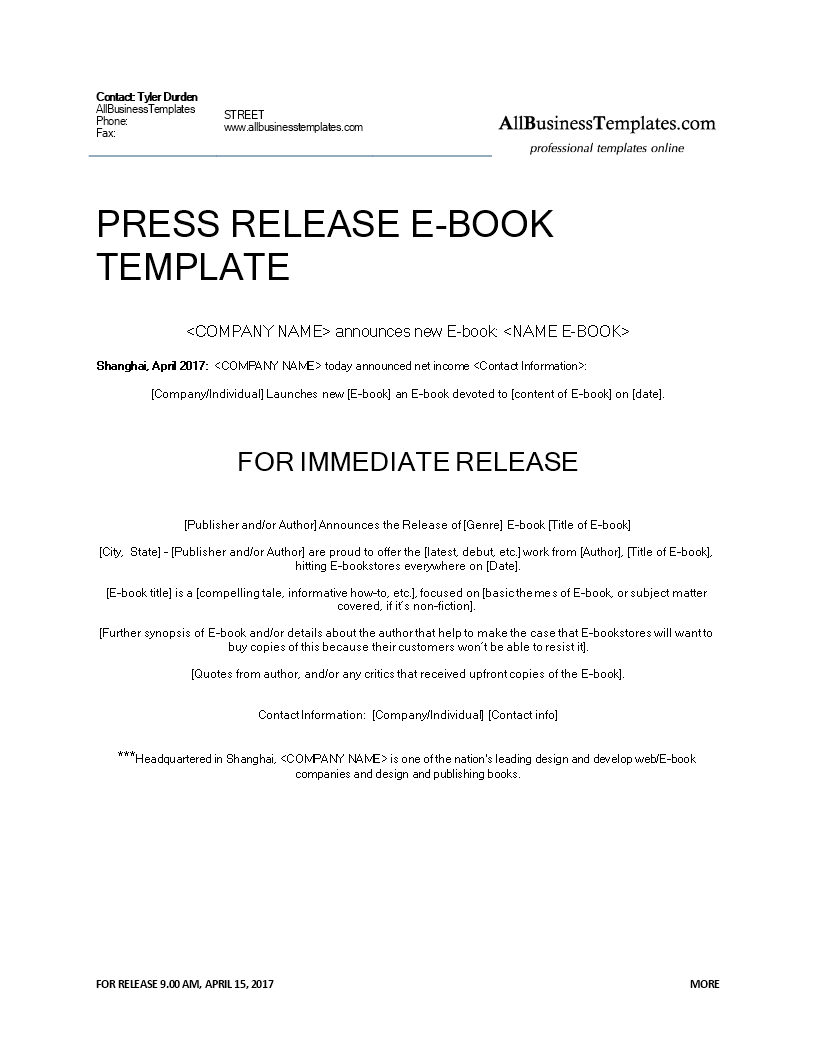 press release ebook release main image download template