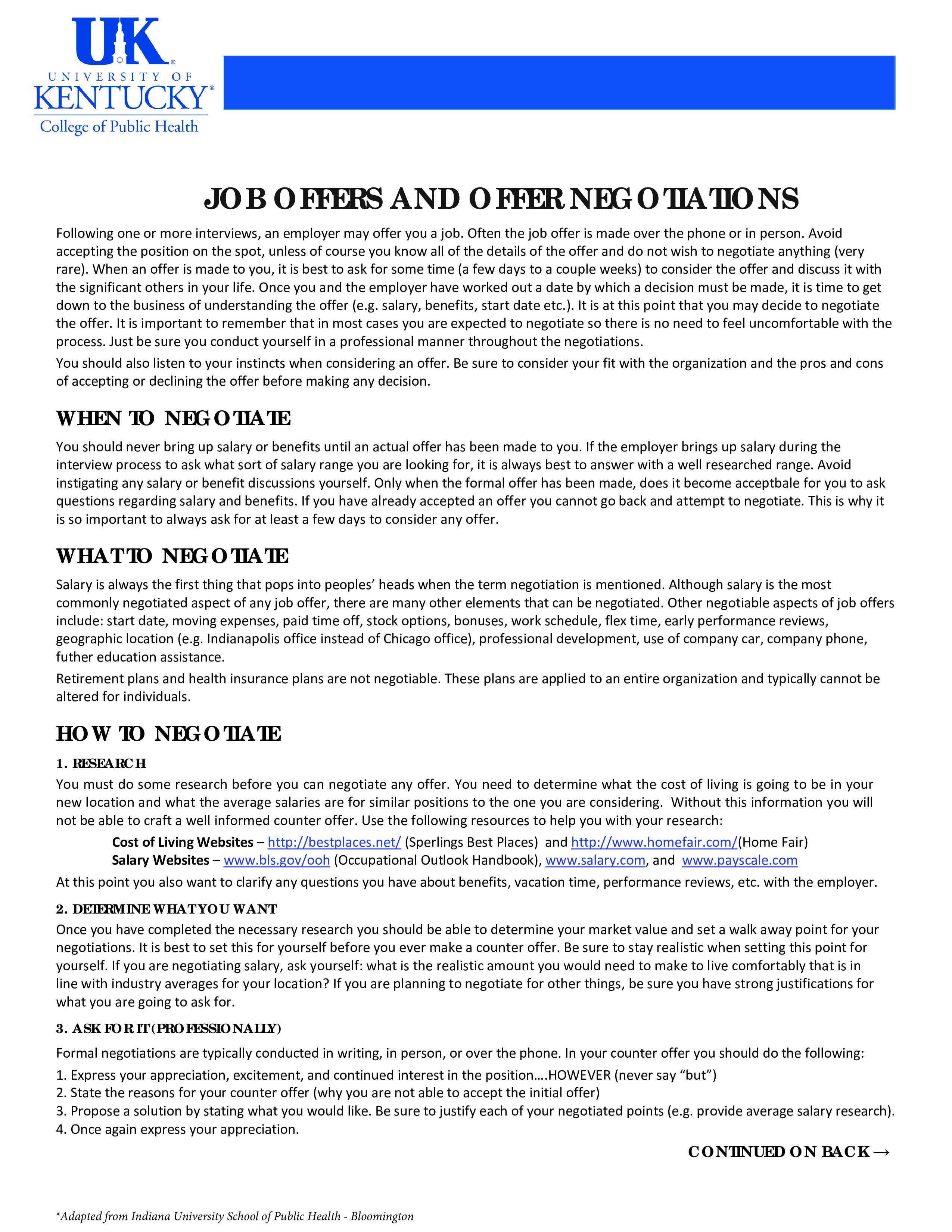negotiating a job offer letter