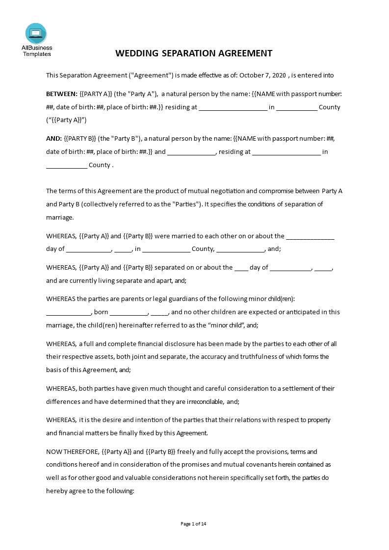 Marriage Separation Agreement Clean main image