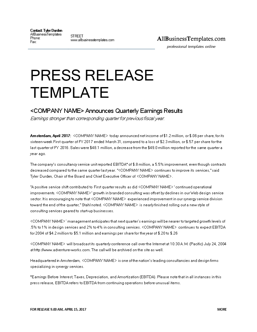 Free official press release quarterly earnings templates for New employee press release template