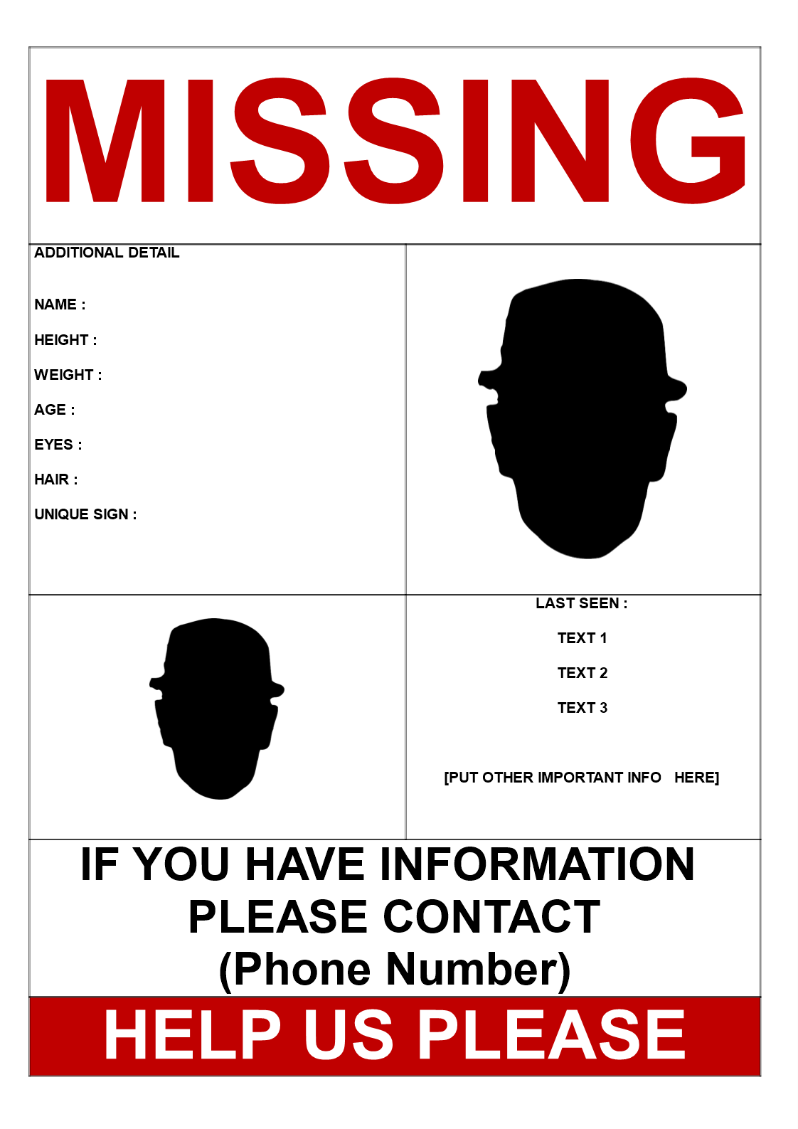 Free Missing Person Template 2 pictures – Missing Person Poster Template