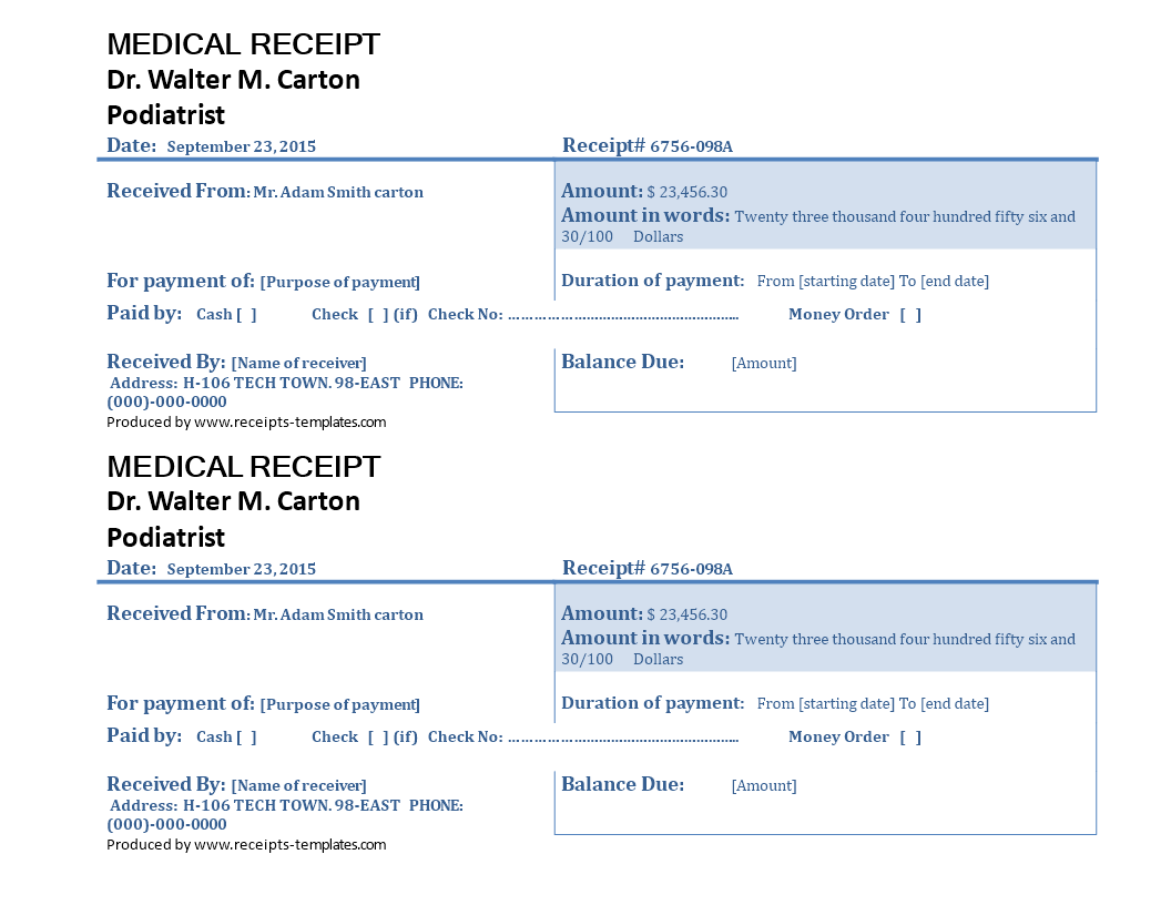 Free example of medical receipt template templates at example of medical receipt template main image maxwellsz