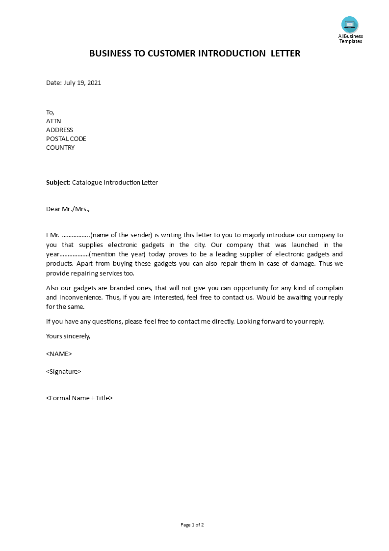 business to customer introduction letter main image download template