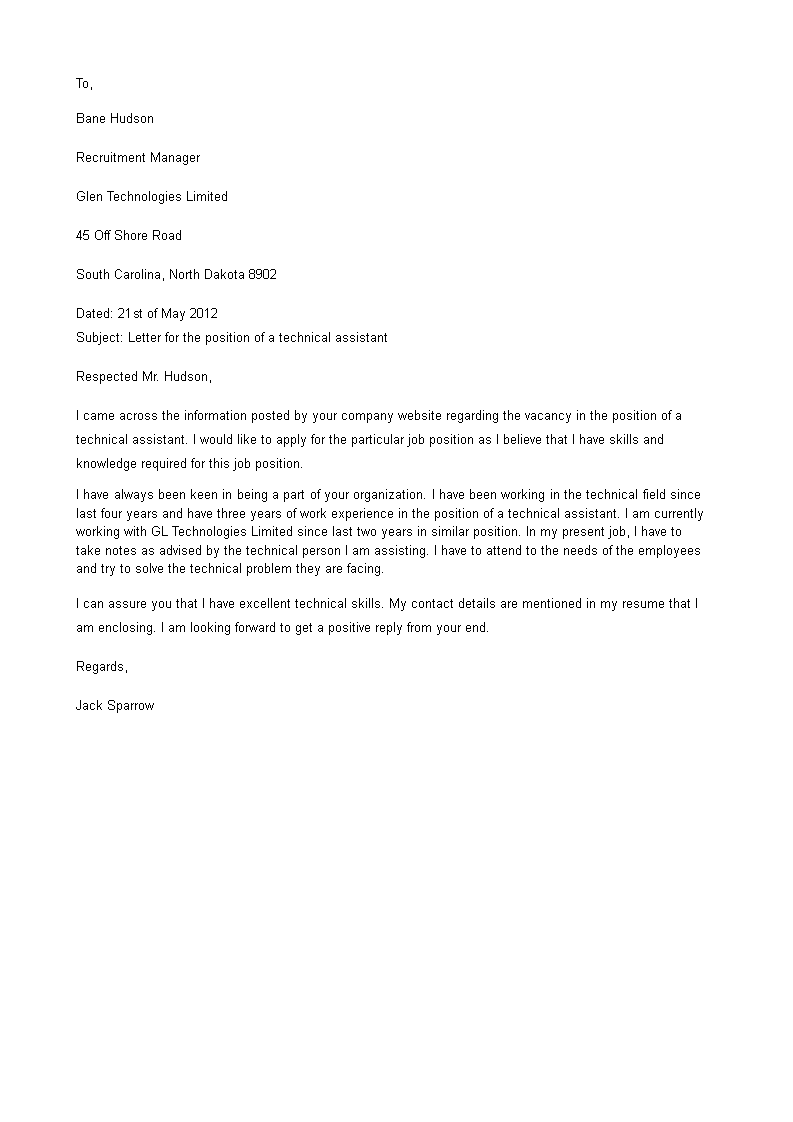 Free Technical Assistant Cover Letter | Templates at ...
