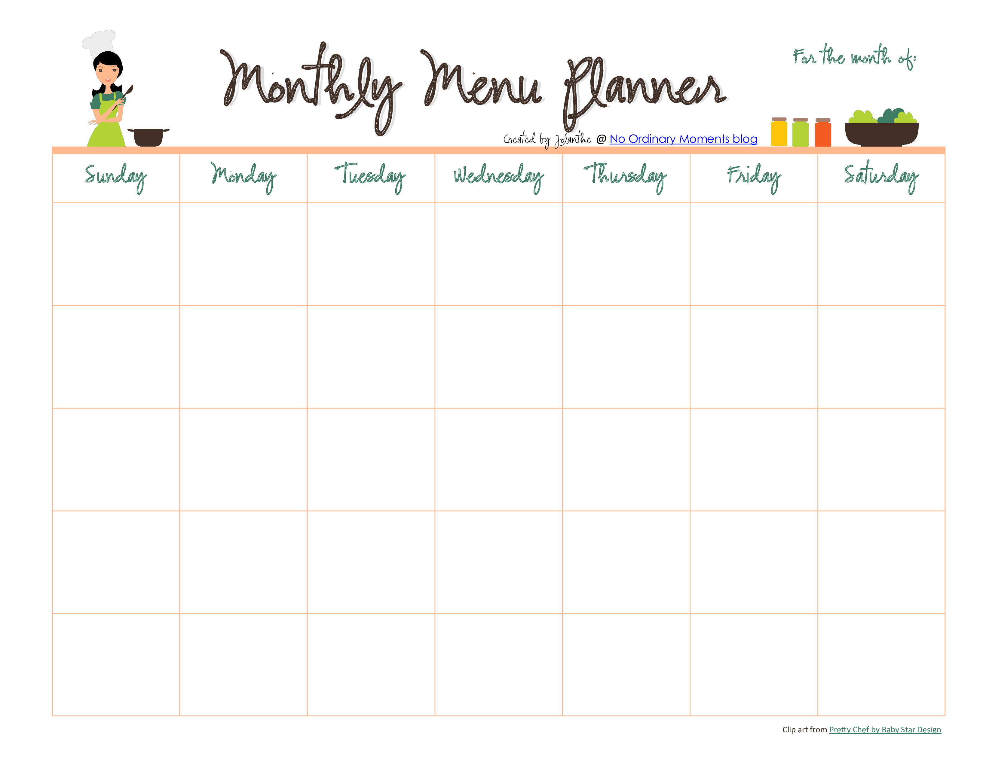 Monthly Meal Menu Planner Pdf Format Template 0a Templates At Allbusinesstemplates Com