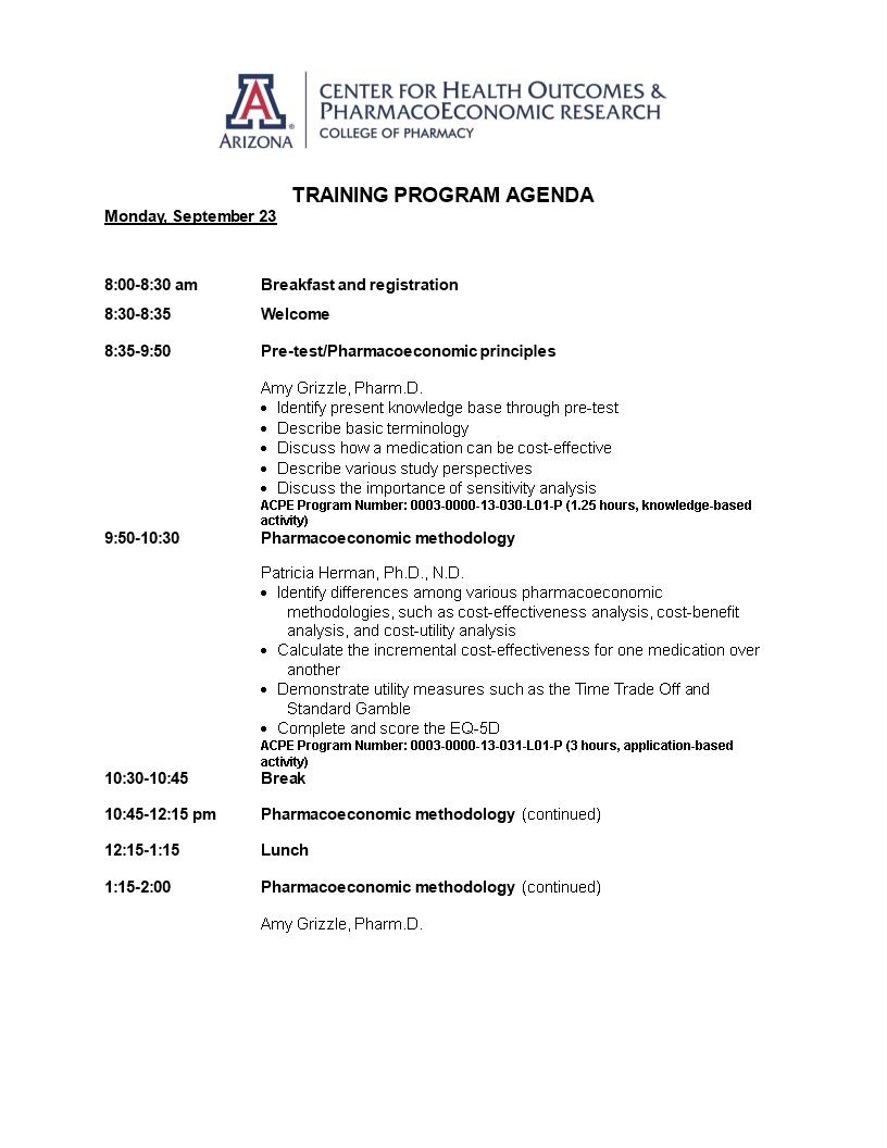 Training Program Agenda Example Templates At Allbusinesstemplates Com
