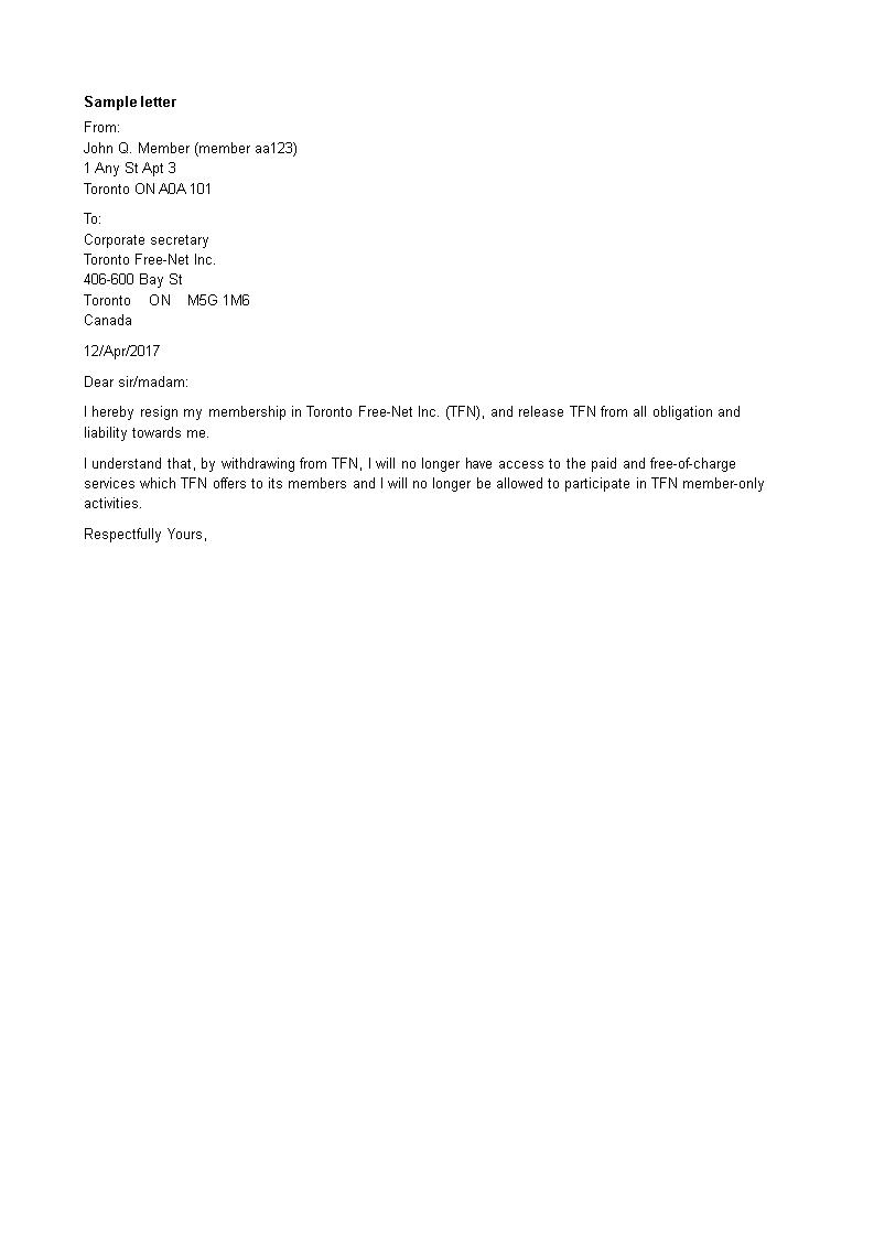 membership resignation letter in word main image