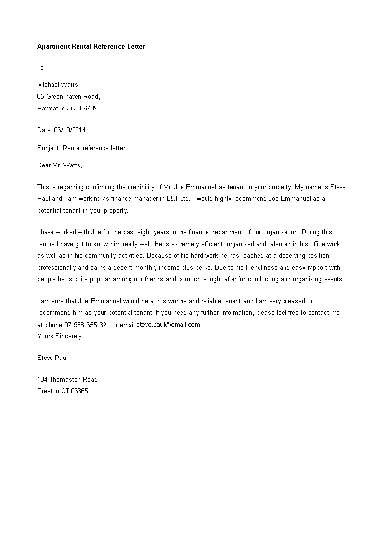 apartment rental reference letter main image