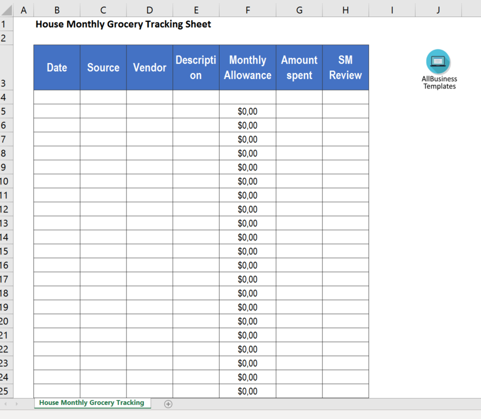 House Monthly Grocery Tracking Sheet main image