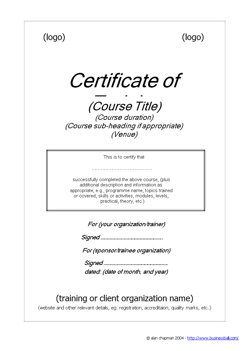 free training certificate templates at