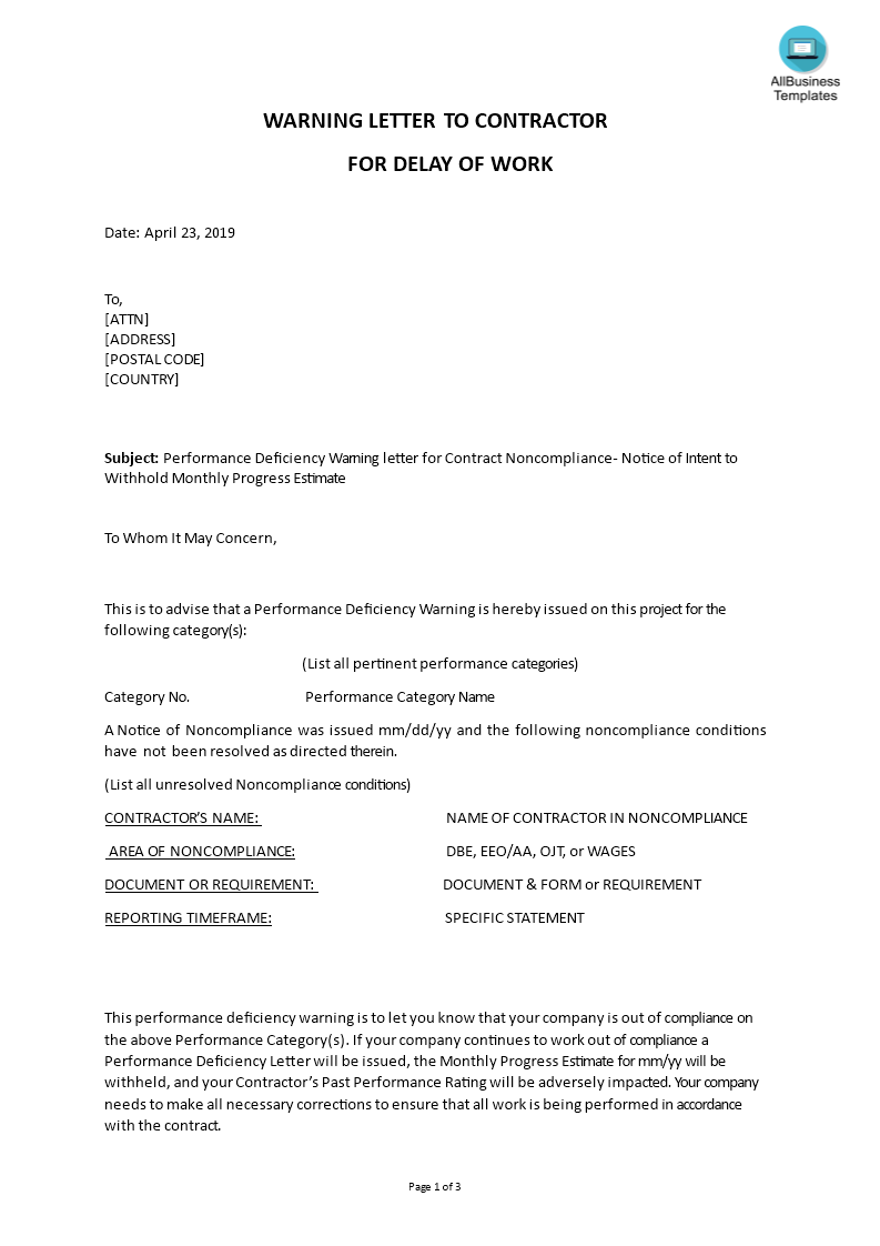 Warning Letter To Contractor For Delay Of Work | Templates at
