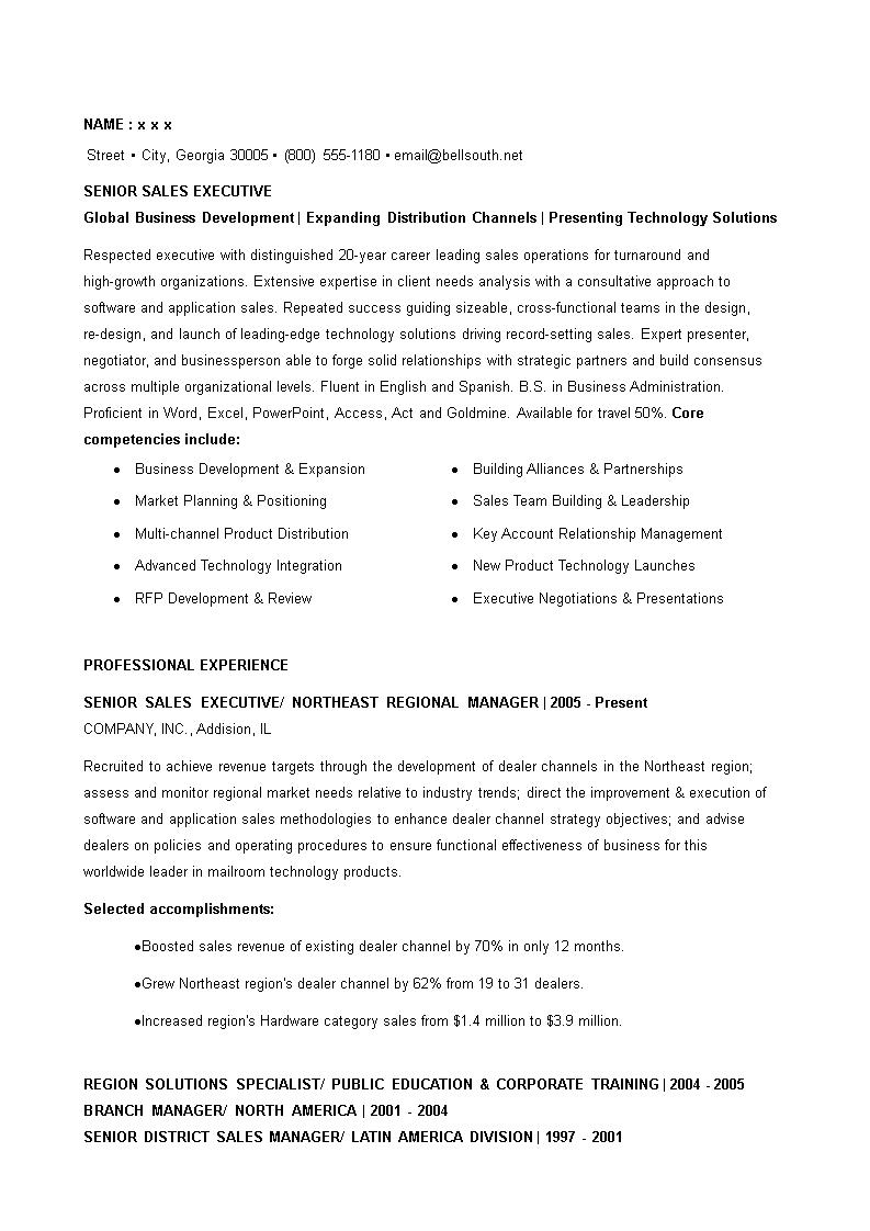 免费Senior Sales Executive Resume | 样本文件在allbusinesstemplates.com