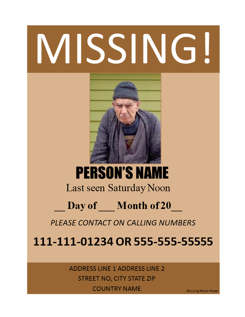 Missing Person Poster Main Image Download Template  Missing Person Poster Template