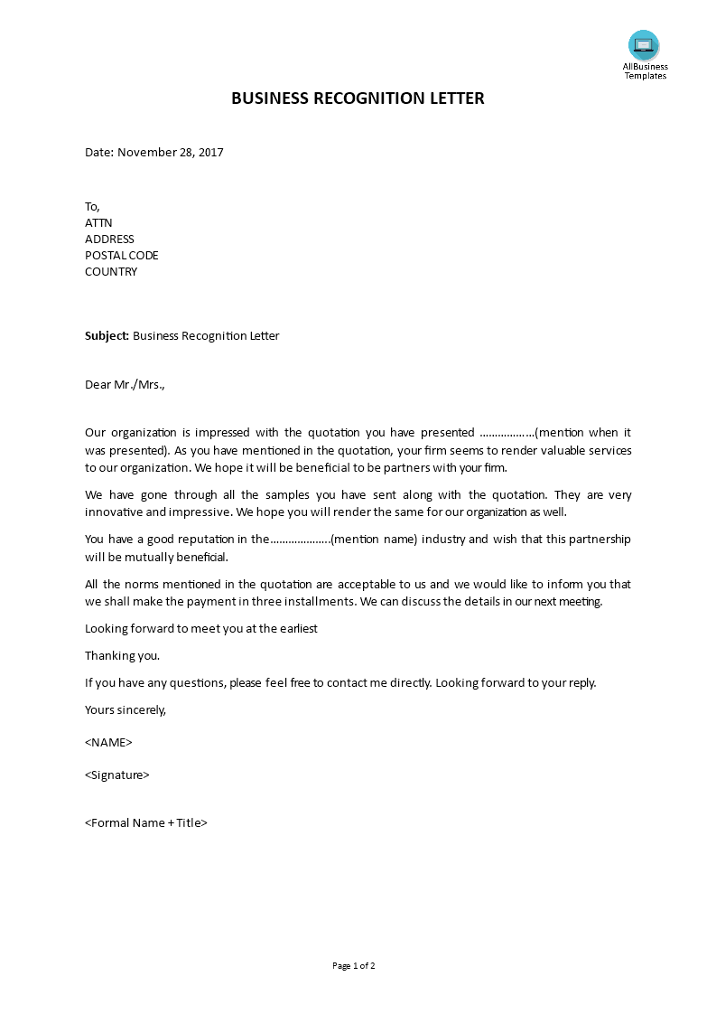 free business recognition letter templates at
