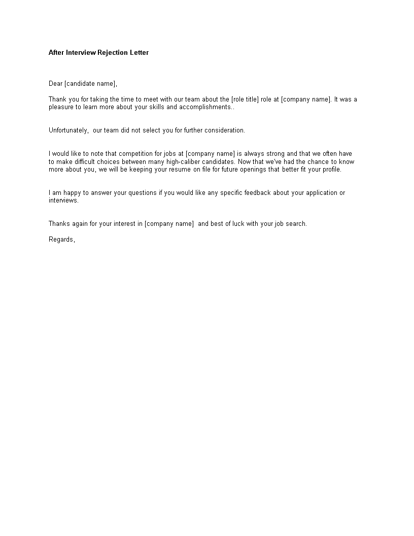 Free after interview rejection letter templates at after interview rejection letter main image expocarfo Images
