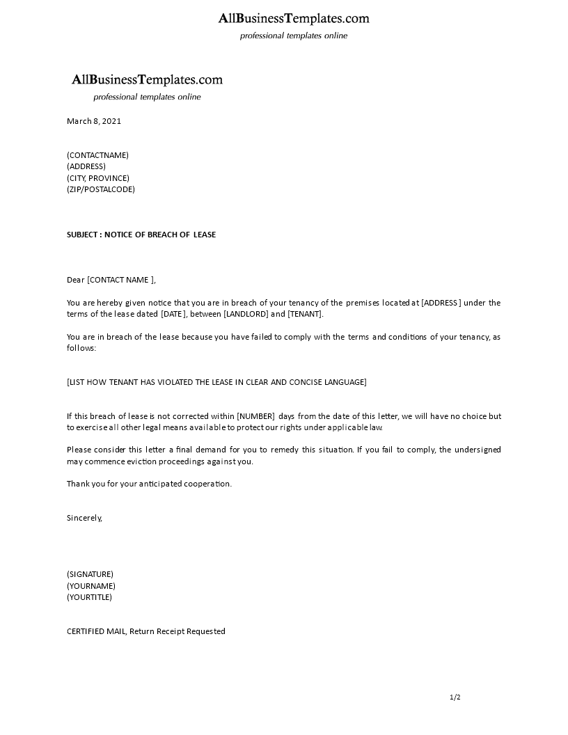 Breach Of Tenancy Letter Template