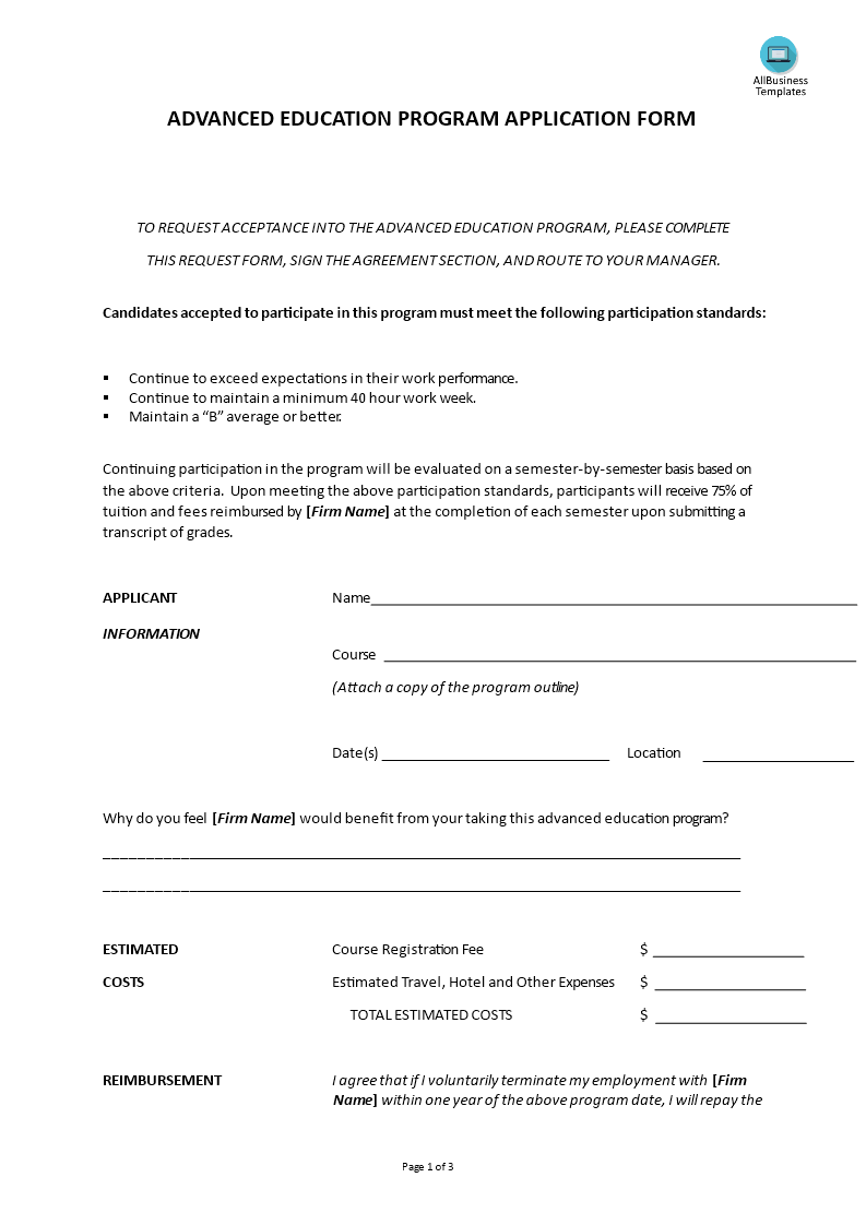 education application form
