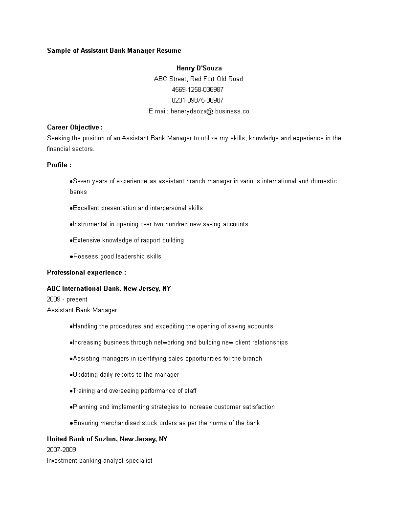 Banking Assistant Manager CV main image