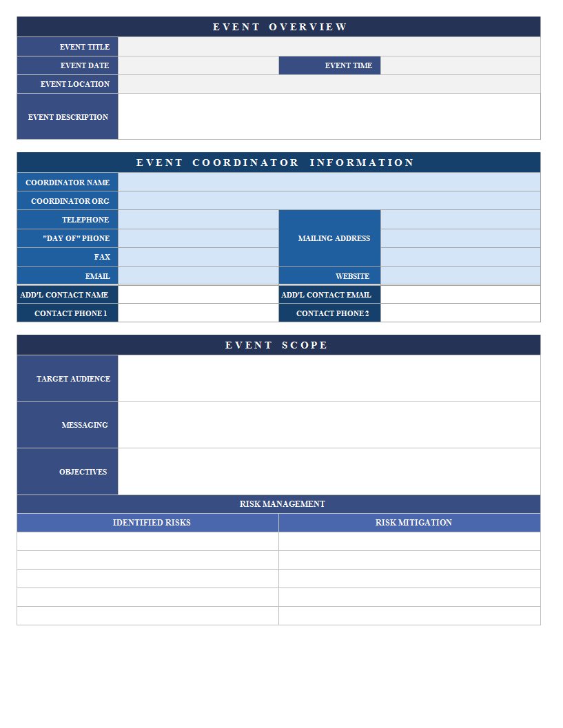 Event Proposal Template Excel Spreadsheet Templates At Allbusinesstemplates Com