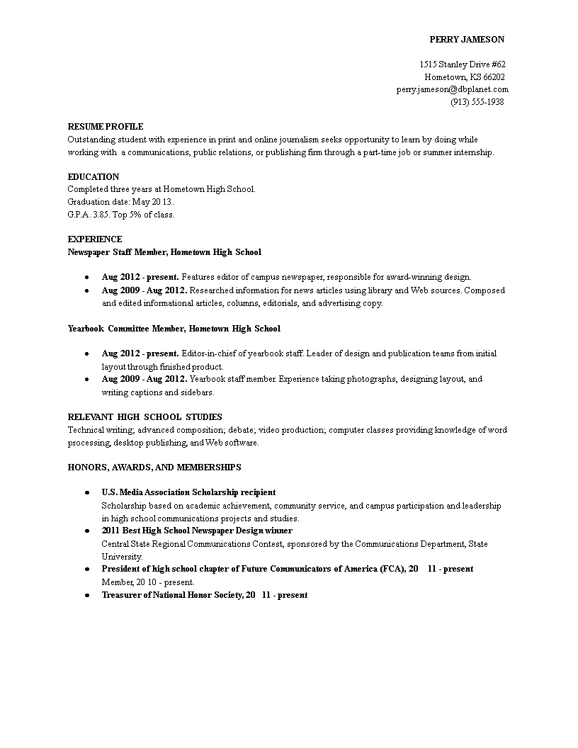 Free Sample Resume Profile Templates At Allbusinesstemplates