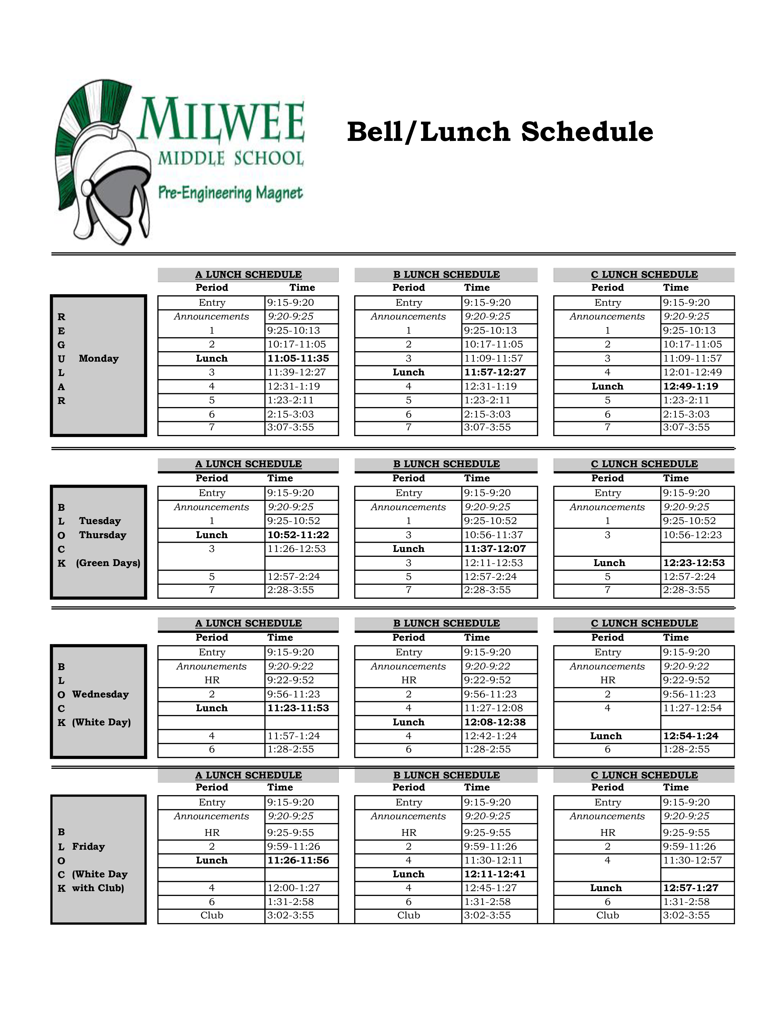 Magnificent Lunch Schedule Template Crest - Examples Professional ...