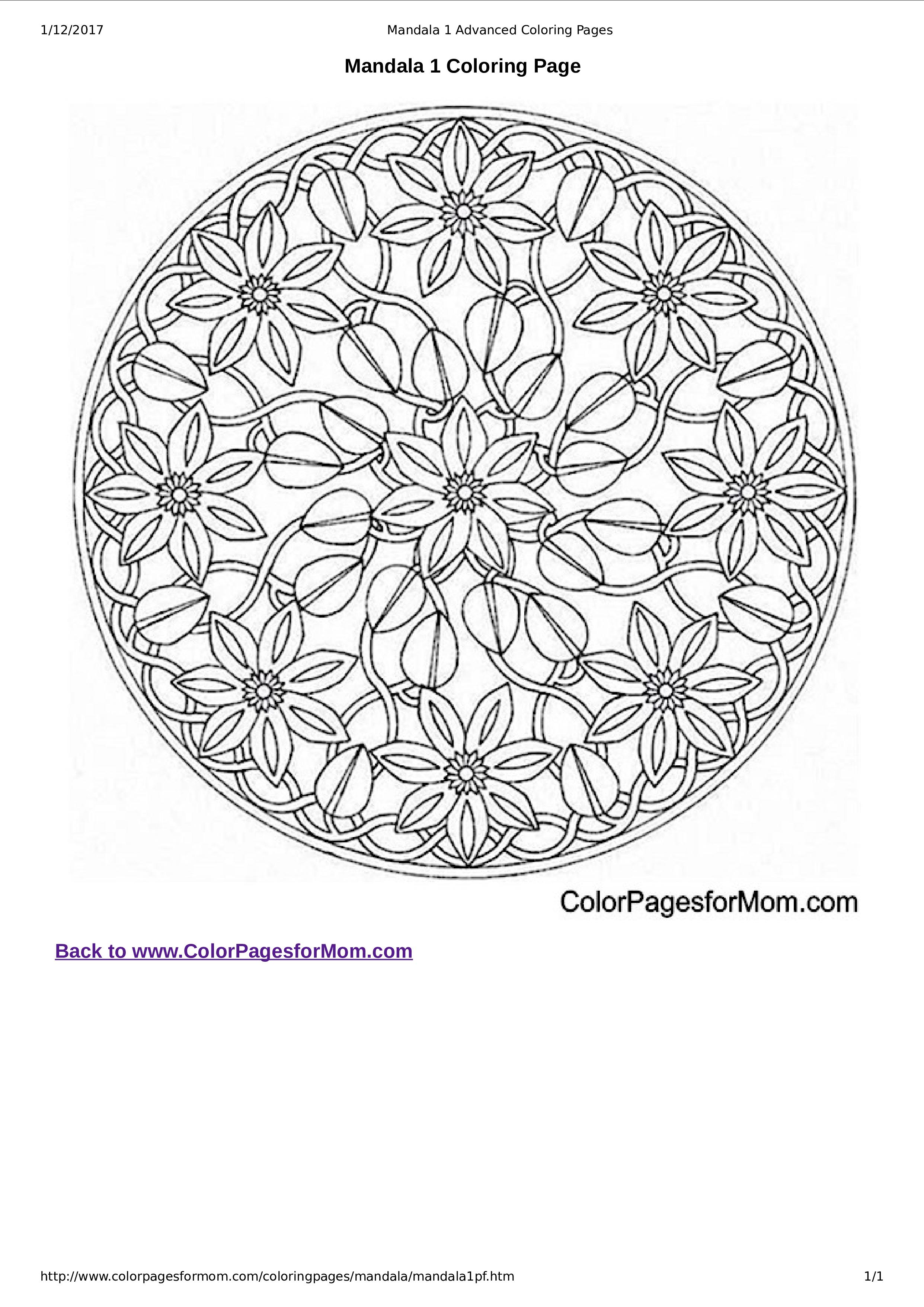 Super Gratis Afdrukbare Mandala kleurplaat voor volwassenen RL-49