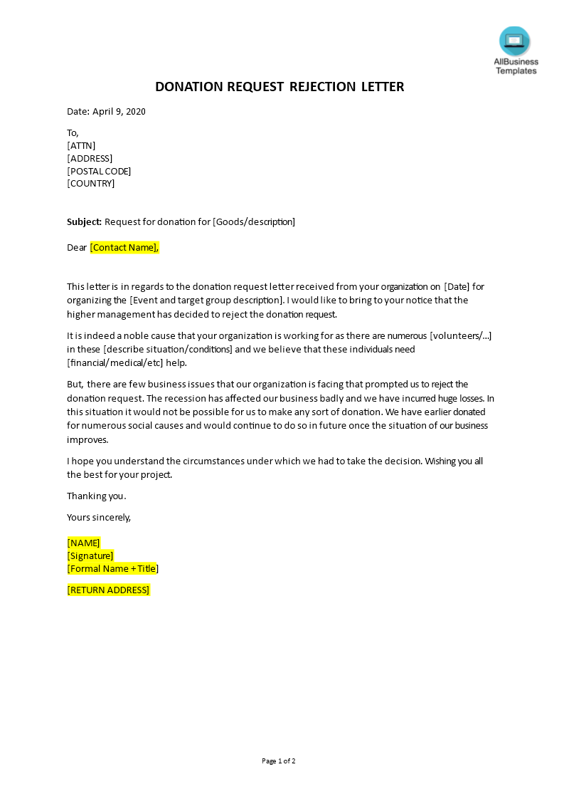 Donation Request Rejection Letter main image