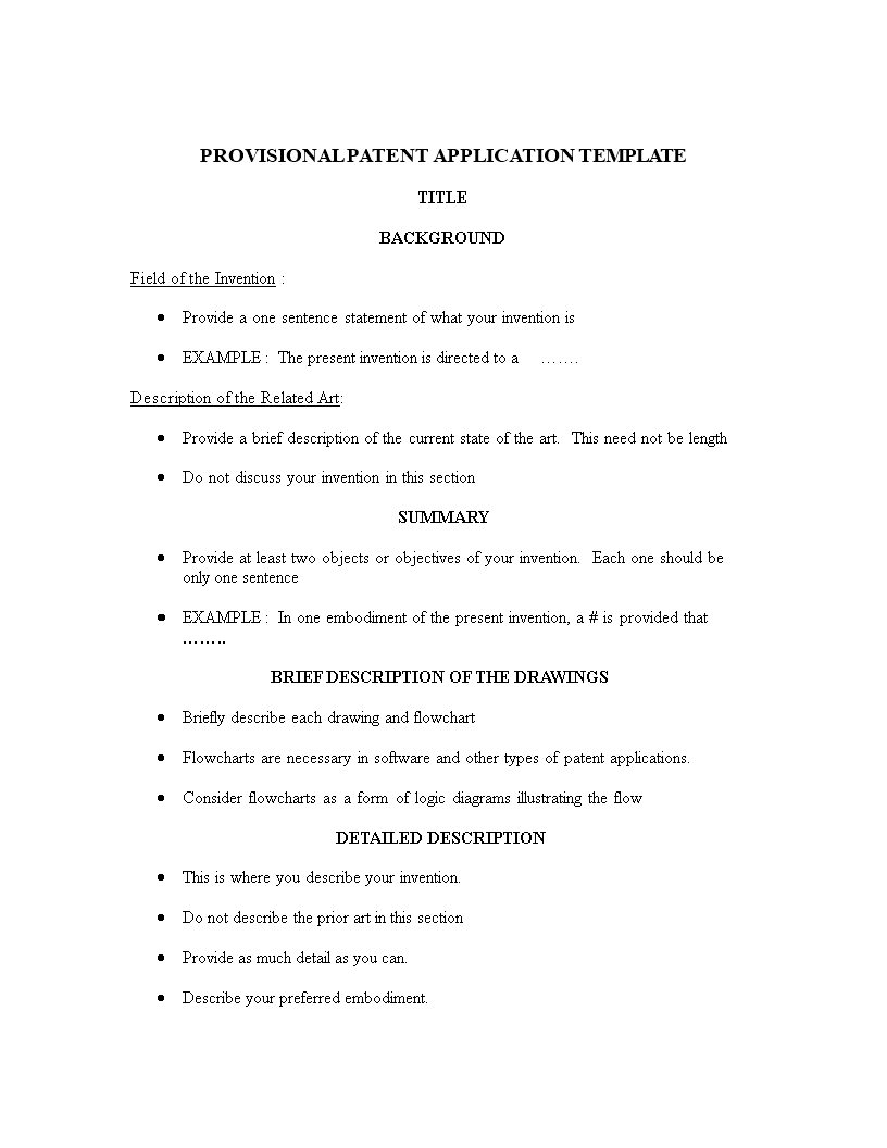 Free Provisional Patent Application Template | Templates at ...