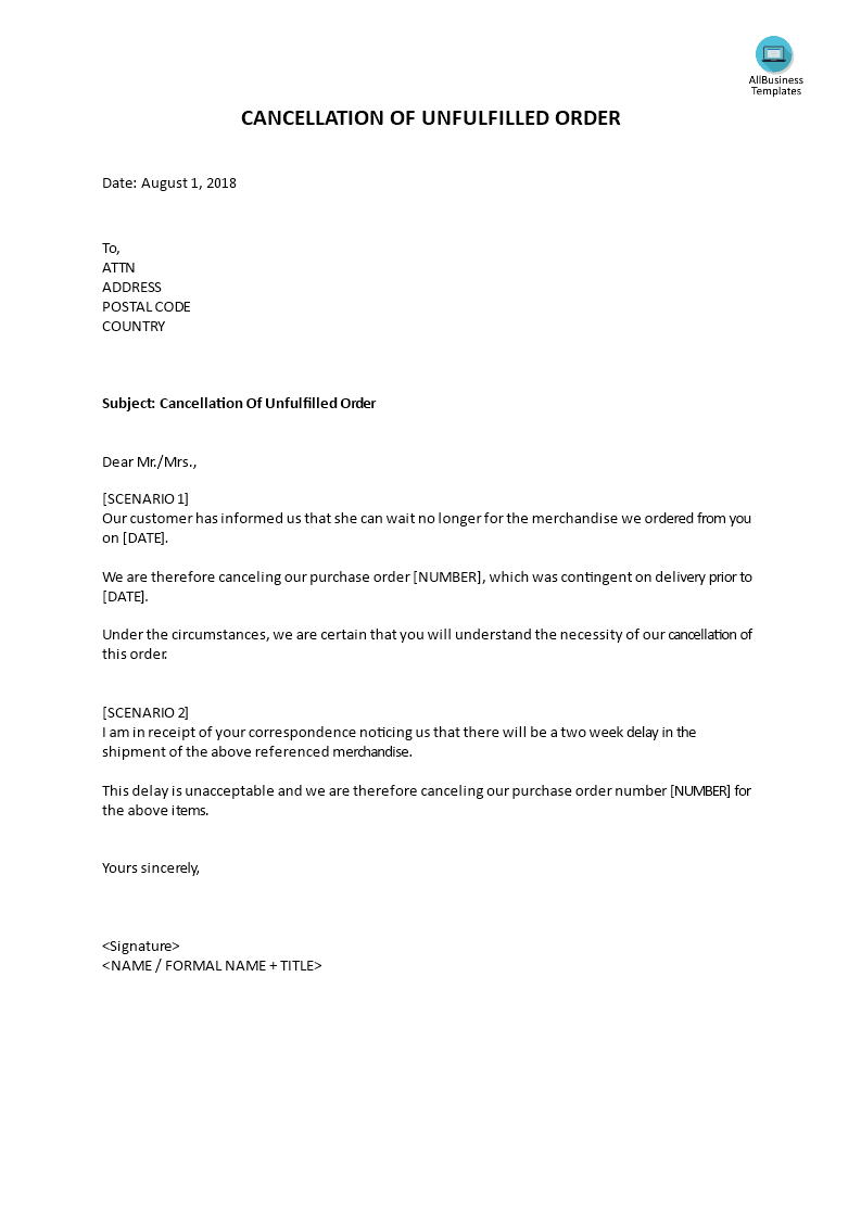 Response Letter Cancellation Unfulfilled Order main image