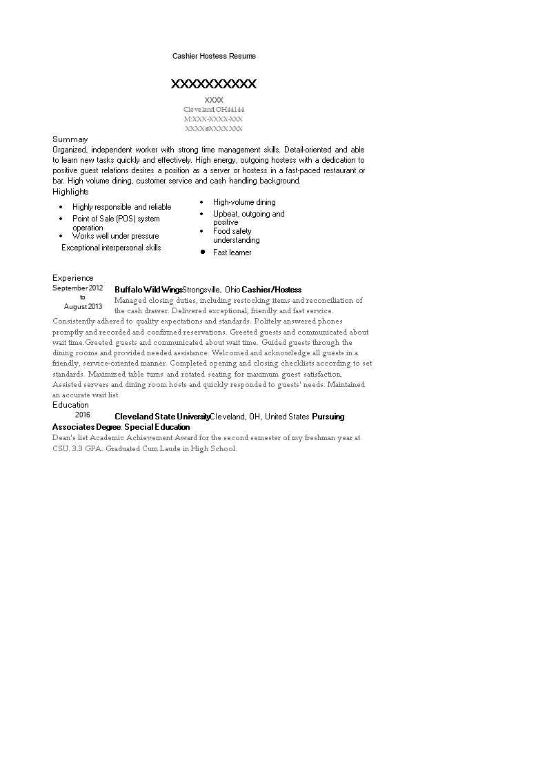 Cashier Hostess Resume main image
