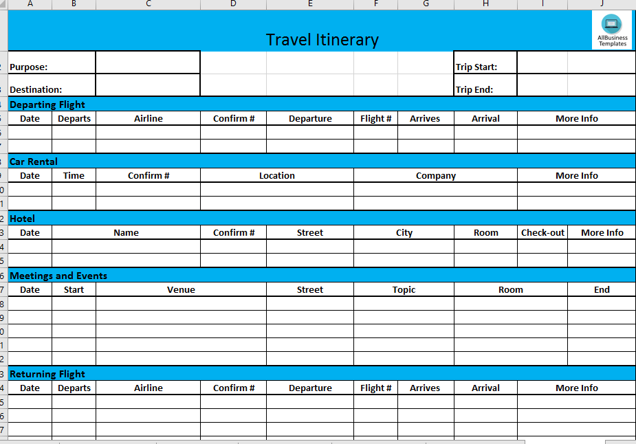 free business travel itinerary template templates at