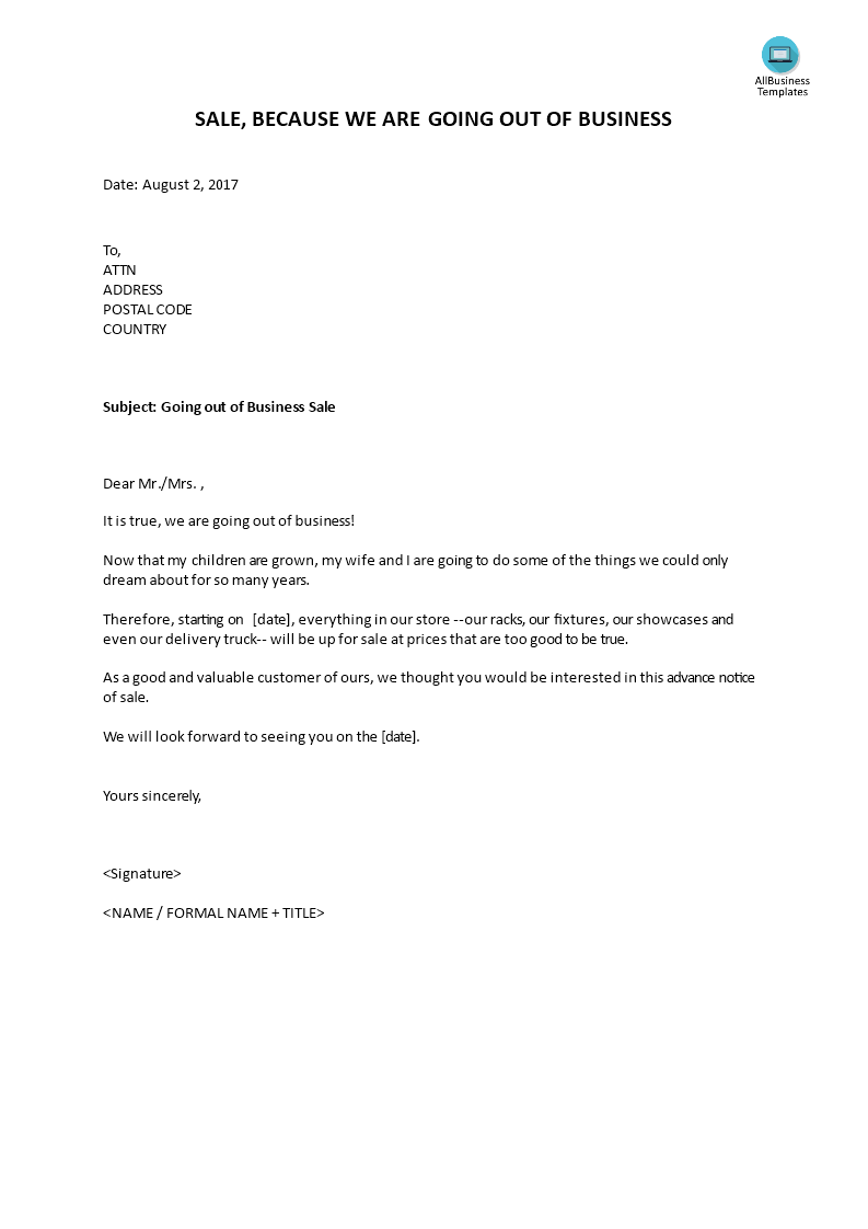 Going Out Of Business Sales Letter Templates At