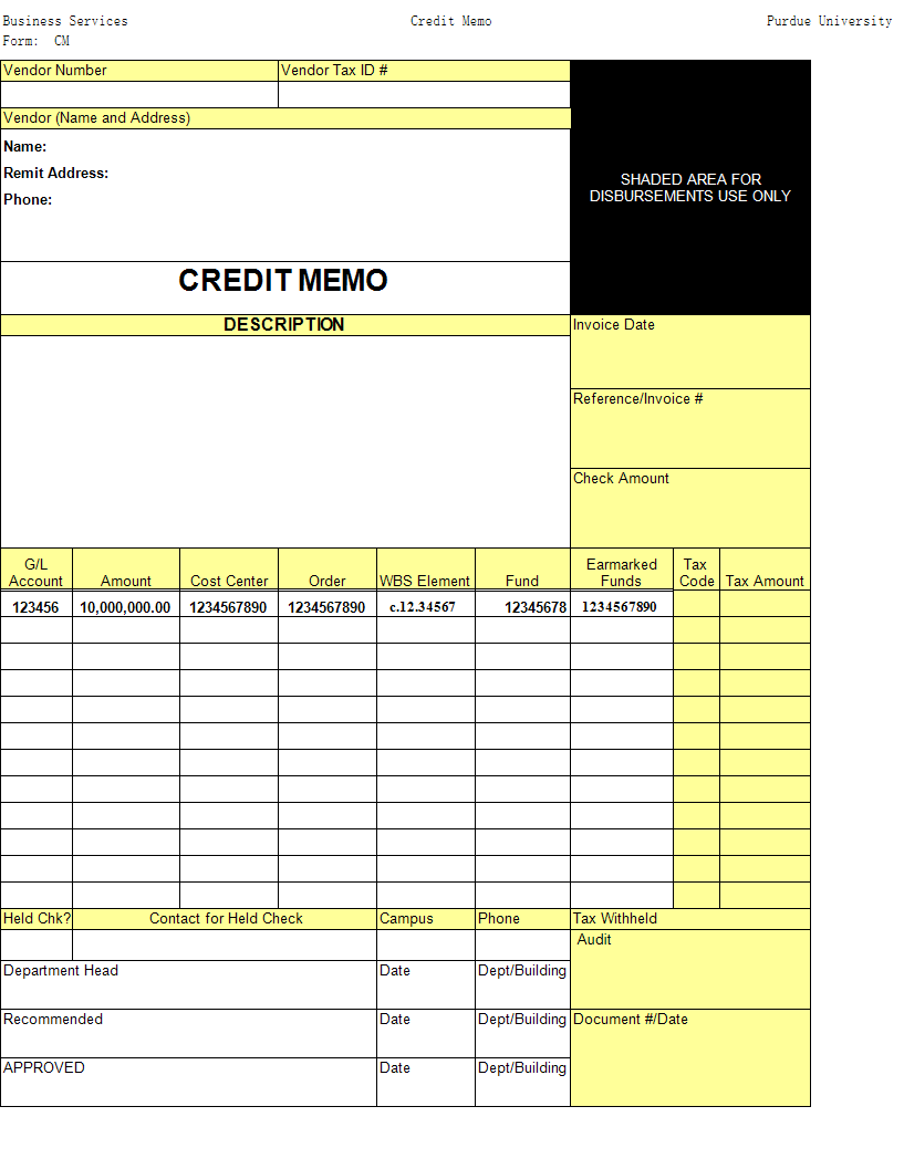 Simple Credit Memo Template main image