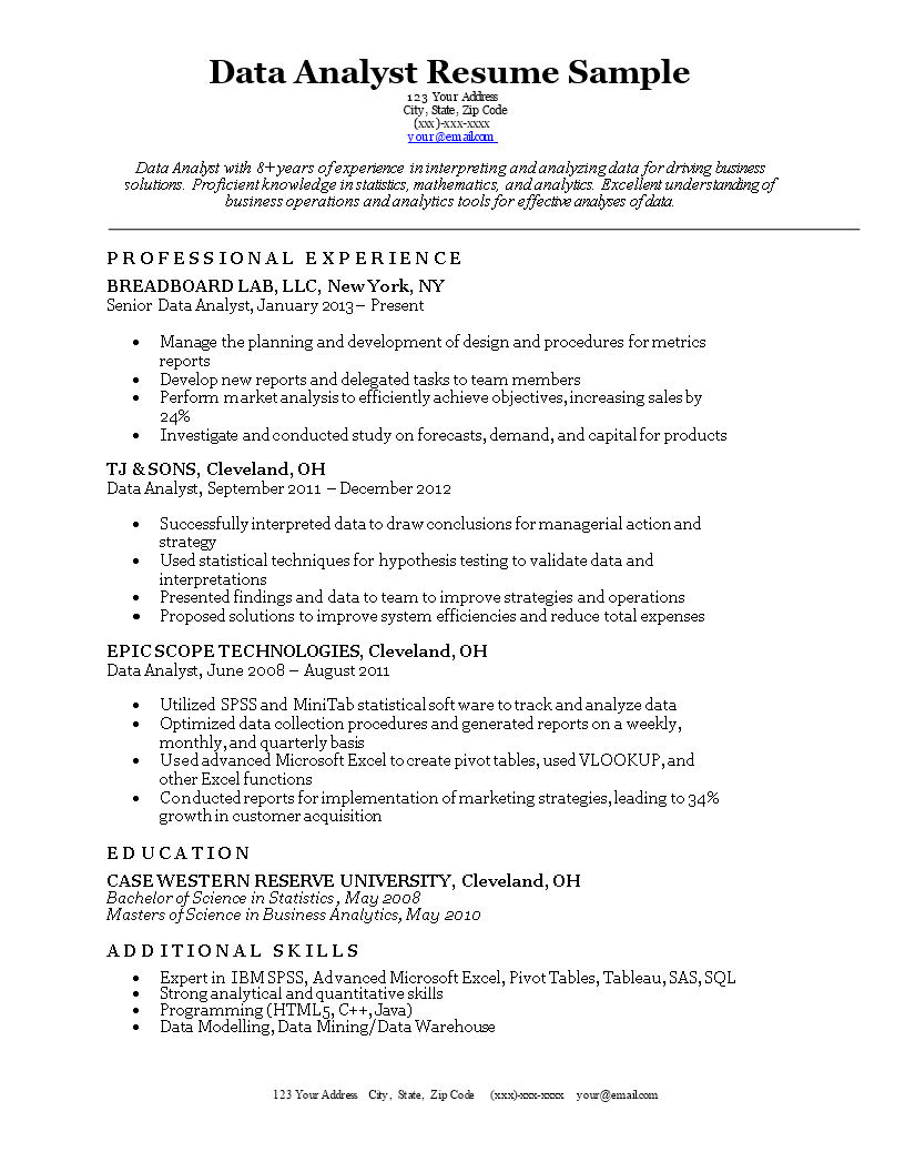 Data Analyst Curriculum Vitae main image