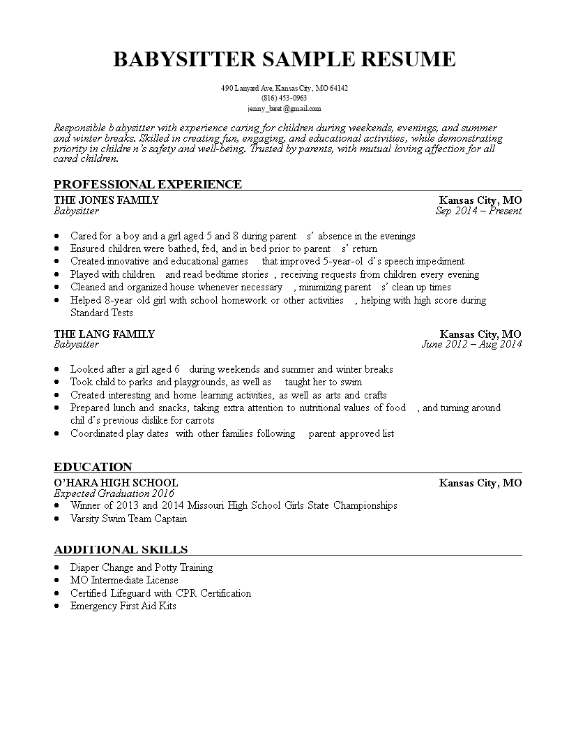 free babysitter resume templates at