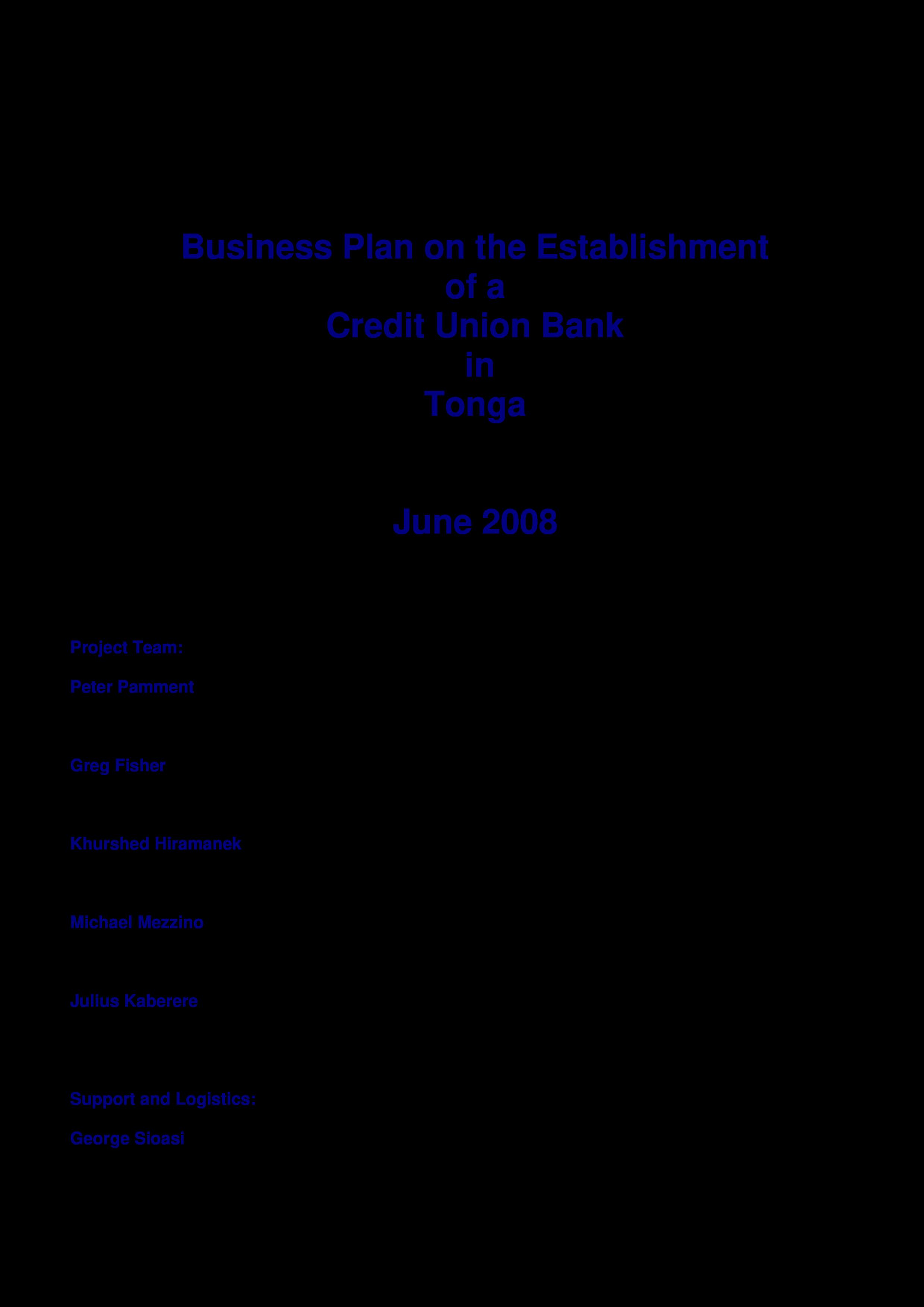 Credit union business plan free sample resort business plan